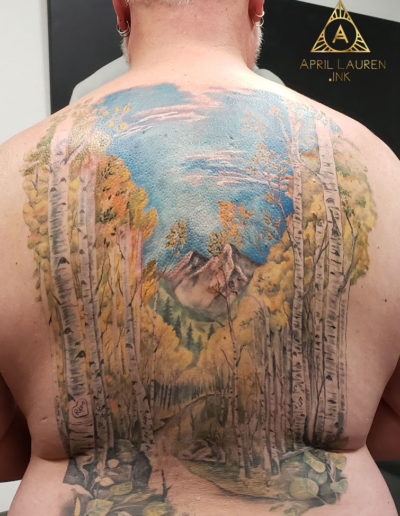 Aspen Trees Mountain Landscape Tattoo