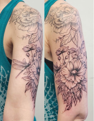 Flowers Dragonfly Sleeve Tattoo
