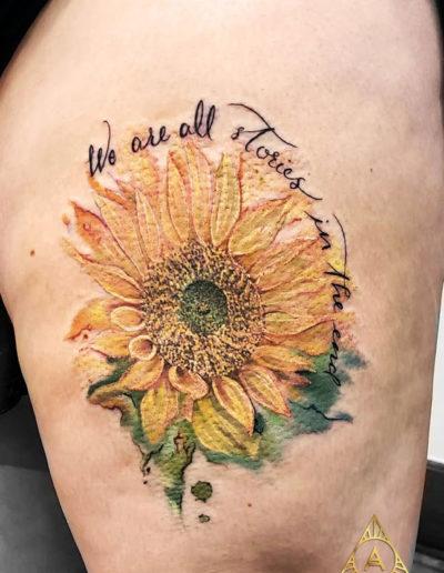 Sunflower Text Detail Tattoo