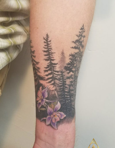 Pine Trees Silhouette Flower Tattoo