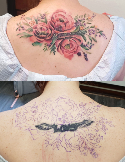 Flower Coverup Before After Tattoo