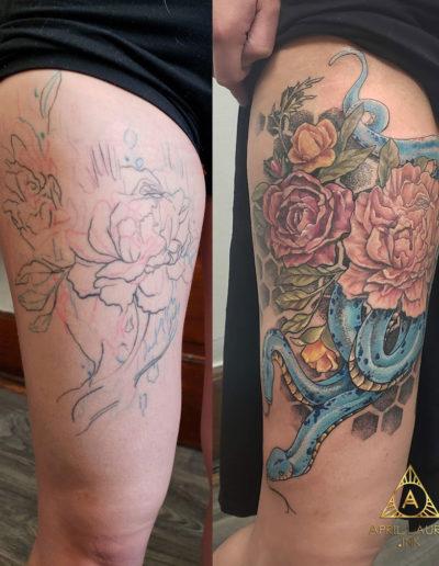Flowers Snake Correction Tattoo