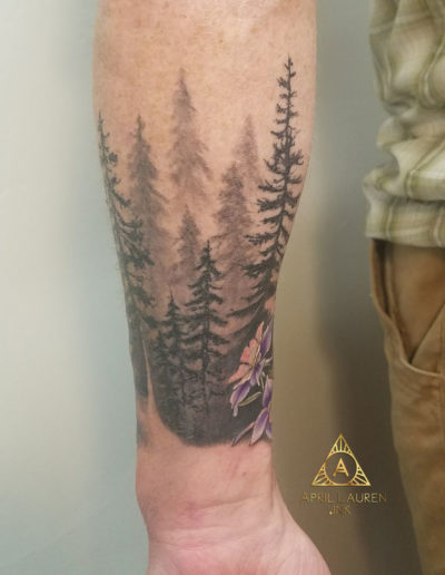 Pine Trees Silhouette Tattoo