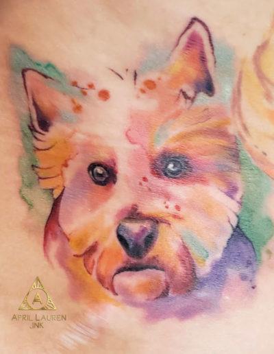 Watercolor Pet Portrait Tattoo