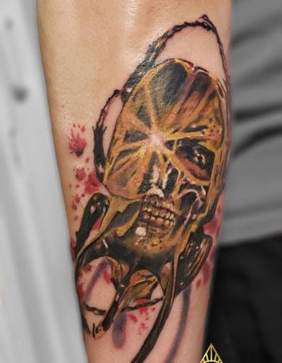 Scarab Beetle Skull Tattoo