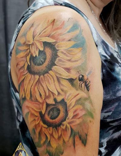 Sunflowers Bee Tattoo