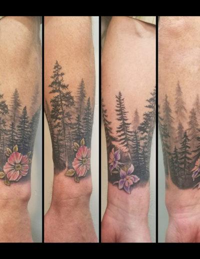Pine Trees Silhouette Flower Tattoo