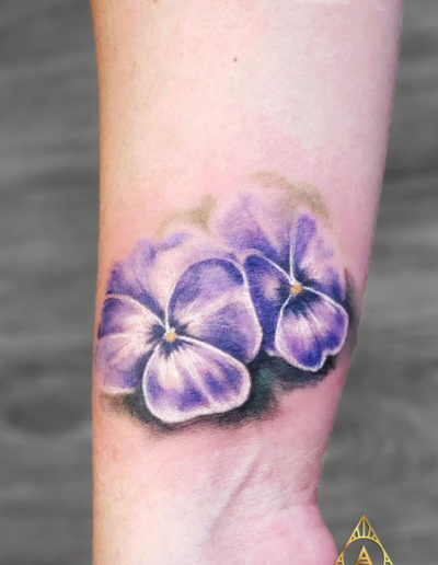 Watercolor Violets Flower Tattoo